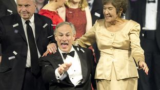 Gov. Greg Abbott enjoys the moment with his mother and father in law at the 2015 Texas Inaugural on Jan. 20, 2015.