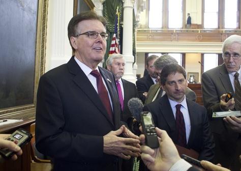 Lt. Gov. Dan Patrick, left, with State Sen. Kevin Eltife, R-Tyler, sponsor of the resolution that changed Senate voting rules on Jan. 21, 2015.