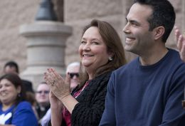 First Lady Cecilia Abbott with Texas Land Commissioner George P. Bush at a Texas Alliance for Life rally on Jan. 24, 2015, at the Texas Capitol.