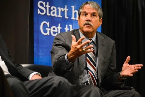 """State Sen. Larry Taylor, R-Friendswood, speaks during the """"House vs. Senate"""" panel at The Texas Tribune's """"On the Road: A Symposium Previewing the 84th Legislature"""" event on Dec. 5, 2014. Taylor is the chairman of the Senate Education Committee."""