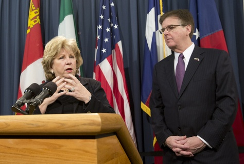 Sen. Jane Nelson R-Flower Mound, together with Lt. Gov. Dan Patrick, hold a press conference on the budget on Jan. 27, 2014.