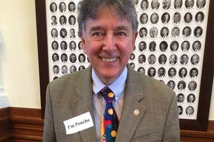 "State Rep. Elliott Naishtat, D-Austin, wearing an ""I'm Poncho"" sticker on Jan. 28, 2015 after fellow Rep. Alfonso ""Poncho"" Nevárez, D-Eagle Pass, was the target of threats and racial slurs from some gun advocates."