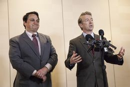 "U.S. Sen. Rand Paul speaks to the press about his decision bring on Steve Munisteri, chairman of the Republican Party of Texas, as a senior advisor to his anticipated presidential campaign during the Dallas GOP ""Reagan Day"" event on Friday, January 30, 2015."