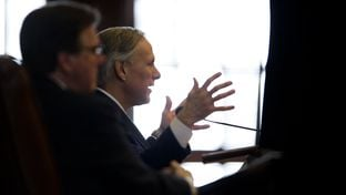 Gov. Greg Abbott delivers his first State of the State speech to a joint session of the Texas Legislature on Feb. 17, 2015.