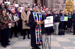 The Rev. Michael Diaz of Resurrection Metropolitan Community Church in Houston at a gay rights rally at the Texas Capitol on Feb. 17, 2015.