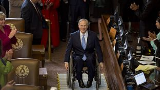 Gov. Greg Abbott arrives for his first State of the State speech on February 17th, 2015
