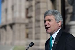 U.S. House Homeland Security Committee Chairman Michael McCaul visits with the press before his meeting with Gov. Greg Abbott at the Texas Capitol on Feb. 18, 2015.
