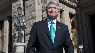 Congressman Michael McCaul visits the Texas Capitol for meetings with Gov. Greg Abbott and Lt. Gov. Dan Patrick on border security on Feb. 18, 2015.