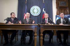 U.S. Sen. Ted Cruz, Gov. Greg Abbott, Attorney General Ken Paxton and Lt. Gov. Dan Patrick praise a judge's ruling against Obama's immigration program at a Capitol press conference on Feb. 18, 2015.