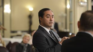 Former Texas House member and current Congressman Joaquin Castro at TTEvents with Evan Smith on Feb. 19, 2015.