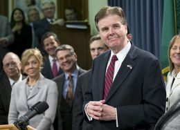 Lt. Gov. Dan Patrick announces the filing of SB1 with a series of property and business tax cuts for Texans on Feb. 24, 2015.