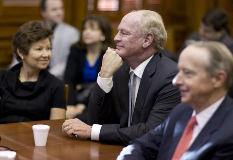 University of Texas Regent nominees Sara Martinez Tucker, R.Steven Hicks and David Beck await questioning at Senate Nominations Committee hearing on Feb. 26, 2015.