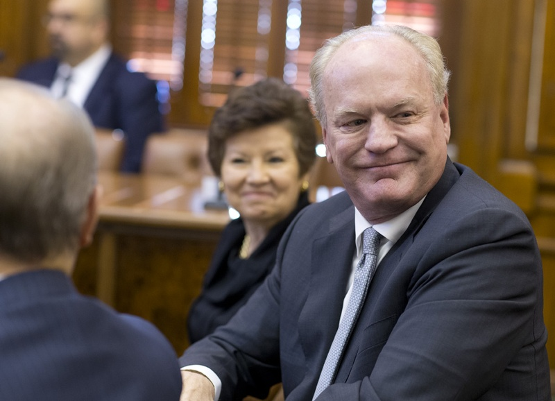 UT Regent nominee Steven Hicks, along with Sara Martinez Tucker and David Beck, await questions from Senate Nominations during Feb. 26, 2015 hearing.