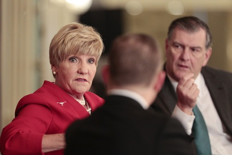 Fort Worth Mayor Betsy Price and Dallas Mayor Mike Rawlings took part in an interview with The Texas Tribune on March 12, 2015.