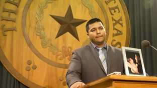 """Erick Muñoz, widow of Marlise Muñoz, speaks during a press conference at Texas Capitol, where """"Marlise's Law"""" was introduced on March 12, 2015."""