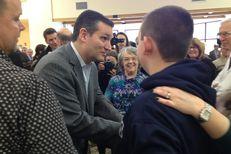 Sen. Ted Cruz campaigns in a Barrington, N.H. manufacturing plant.