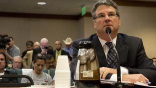 Sen. Charles Perry R-Lubbock answers questions regarding his bill SB #185 which relates to to the enforcement of state and federal laws governing immigration during Senate Subcommittee on border security on March 16th, 2015