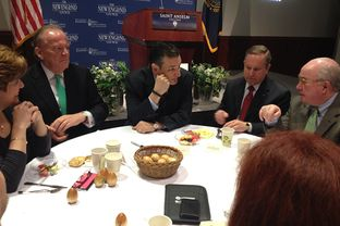 "U.S. Sen. Ted Cruz attends a ""Politics And Eggs"" breakfast in Manchester, N.H. on March 16, 2015."