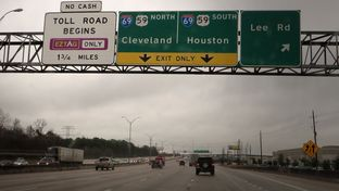 The Sam Houston Parkway, along with the Sam Houston Tollway, in Houston.