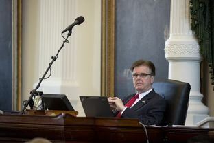 Lt. Gov. Dan Patrick listens to debate on SB 8  franchise tax reform measure during Senate action March 25, 2015.