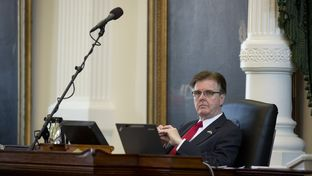 Lt. Gov. Dan Patrick listens to debate on SB 8  franchise tax reform measure during Senate action March 25, 2015.