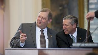 House Appropriations Committee chair John Otto, R-Dayton,l, and State Rep. Drew Springer, R-Gainesville, listen to amendments on the budget March 31, 2015.