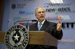 Gov. Greg Abbott at a Tax Day press conference on April 15, 2015.