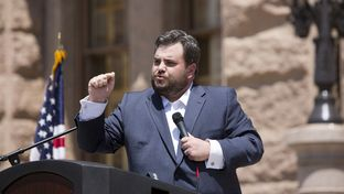 Rep. Jonathan Stickland R-Bedford speaks during the Texas Tax Day Tea Party Rally at the Texas Capitol on April 15th, 2015