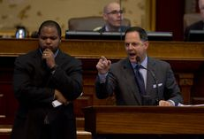 Rep. Rafael Anchia speaks at the Capitol on April 7, 2015.