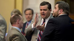 Chairman State Rep. Larry Phillips, R-Sherman, sponsor of HB 910 open carry legislation, just before final passage of the bill April 17, 2015 by a 96-35 House vote.
