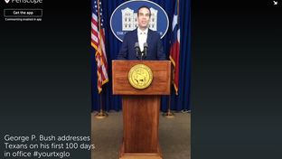 Land Commissioner George P. Bush delivered a speech Wednesday marking his first 100 days in office. His remarks were broadcast live via the Periscope app.
