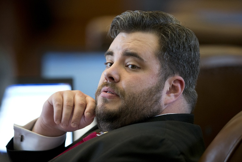 State Rep. Jonathan Stickland, R-Bedford, during the gun bill debate on April 17, 2015.