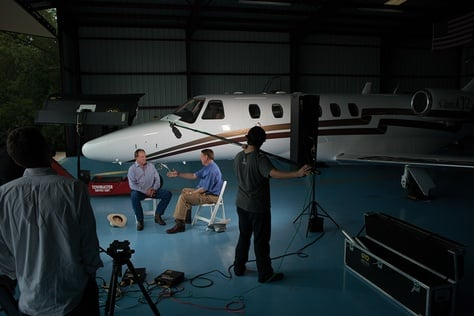 Texas A&M University System Regent Jim Schwertner and former Regent Richard Box participate in an interview for a new movie, produced by John Robison, that revisits the decision to move to the SEC.
