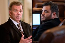 State Rep. Joe Pickett, D-El Paso, left, and state Rep. Jonathan Stickland, R-Bedford