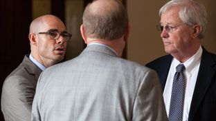 House Ways and Means Chair Dennis Bonnen, R-Angleton, speaks with House Appropriations Chair John Otto, R-Dayton, and House Administration Chair Charlie Geren, R-Fort Worth, on the House floor on May 14, 2015.