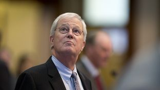State Rep. Charlie Geren, R-Ft. Worth, chairman of the House Administration Committee, looks toward the gallery while House members watch the seevere weather during debate on May 25, 2015.