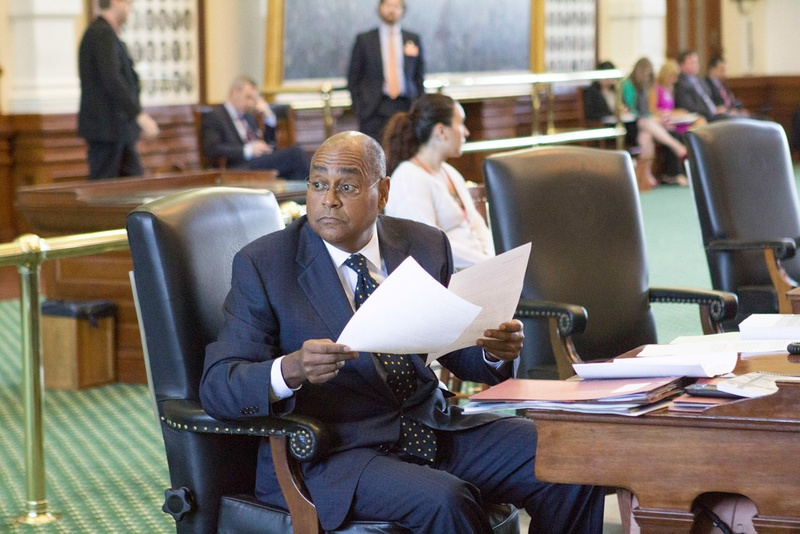 State Sen. Rodney Ellis, D-Houston, on the Senate floor, May 28, 2015. Ellis will remain on the ballot for reelection in Senate District 13, while also seeking to become county commissioner Harris County's precinct 1.