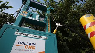 A fueling station for vehicles powered by compressed natural gas sits in Austin. As of mid-March, Texas was home to 130 natural gas fueling stations, according to the Railroad Commission of Texas. Those 77 public stations and 63 private ones serve about 7,200 vehicles.