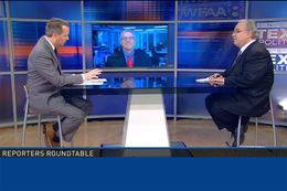 (L-R) Host Jason Whitely, Tribune Executive Editor Ross Ramsey and the Fort Worth Star-Telegram's Bud Kennedy on WFAA-TV's Inside Texas Politics on June 7, 2015.