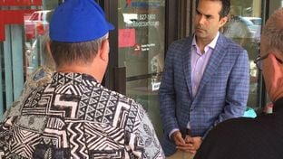 Texas Land Commissioner George P. Bush speaks with Nevadans before a meet-and-greet on June 17, 2015, in Reno. He spent the day in the state stumping for his father, former Florida Gov. Jeb Bush.