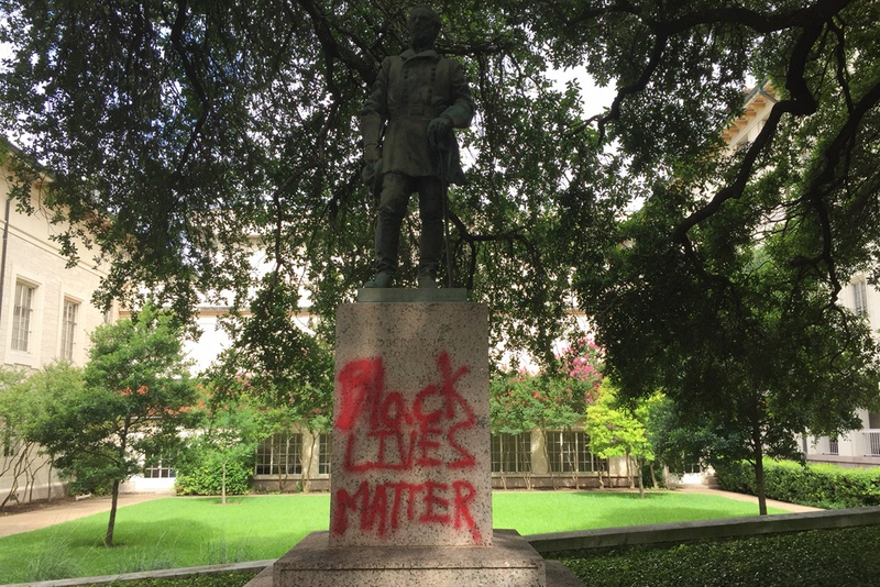 Three statues at the University of Texas at Austin that commemorate Confederate leaders were vandalized in June 2015.