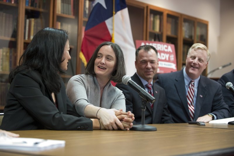 Couples Cleopatra DeLeon and Nicole Dimetman and Victor Holmes and Mark Phariss celebrated the U.S. Supreme Court's decision on same-sex marriage at an LBJ Library news conference on June 26, 2015.
