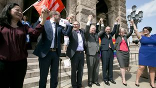 Gay rights activists held a demonstration on Monday, June 29, 2015, in front of the Texas Capitol. The event came a few days after the U.S. Supreme Court's decision to make same-sex marriage legal in all 50 states. Speakers at the event included (from left) Cleo DeLeon, Chad Griffin, Jim Obergefell, Mark Phariss, Vic Holmes, Rebecca Robertson and Kathy Miller.