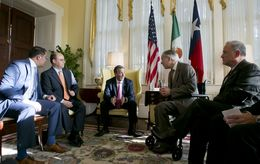 (left to right)  Assistant Secretary of State for Mexican and Border Affairs Avdiel Huerta, Undersecretary for North American Affairs,Sergio Alcocer Martinez de Castro, Mexican Secretary of Foreign Affairns,  José Antonio Meade Kuribreña, Governor of Texas, Greg Abbott, and Texas Secretary of State, Carlos Cascos during a July 9, 2015 meeting at the Governor's Mansion