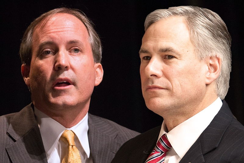 Attorney General Ken Paxton (left) and Gov. Greg Abbott.
