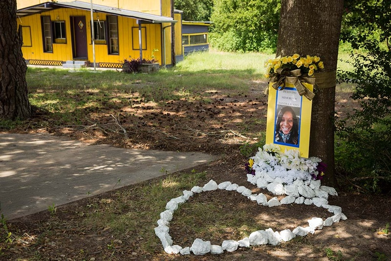 A memorial for Sandra Bland at the site of her arrest.