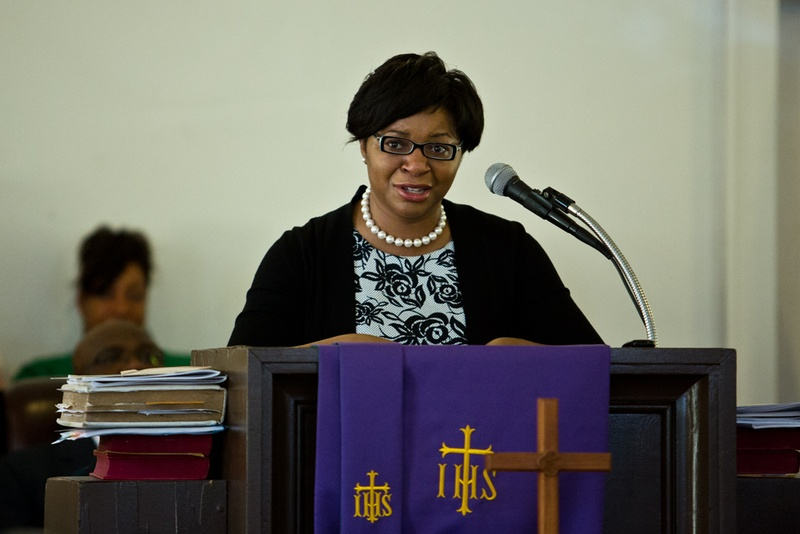 Sharon Cooper speaks at the memorial for her sister, Sandra Bland, at Hope AME Church in Prairie View, Texas, on July 19, 2015.