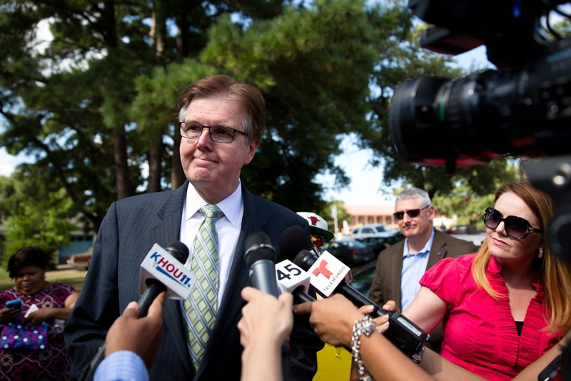 Lt. Gov. Dan Patrick stopped by Hope AME Church following a memorial service for Sandra Bland in Prairie View on July 19, 2015.