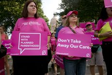 Group of Planned Parenthood supporters outside the Texas Capitol on July 29, 2015 on the morning when the Senate Committee on Health and Human Services was being held
