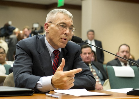 DPS Director Col. Steve McCraw answers questions from State Rep. Garnet Coleman during invited testimony of the House Committee on County Affairs investigating the Sandra Bland death in Waller County on July 30, 2015.